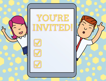 Handwriting text writing You Re Invited. Conceptual photo You are happily encouraged to attend and event or a party Male and Female Index Fingers Up Touch Screen Tablet Smartphone Device Stock Photo - 123791902