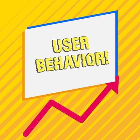 Handwriting text User Behavior. Conceptual photo focuses on user activity as opposed to static threat indicator Irregular edging arrow line on the bottom of parallelogram blank papers Banco de Imagens