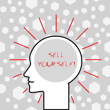 Writing note showing Sell Yourself. Business concept for to make yourself seem impressive or notable to other showing Outline Silhouette Human Head Surrounded by Light Rays Blank Text Space