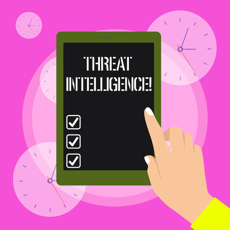 Conceptual hand writing showing Threat Intelligence. Concept meaning analyzed and refined information about potential attacks Female Hand with Polished Nails Pointing Tablet Screen Off