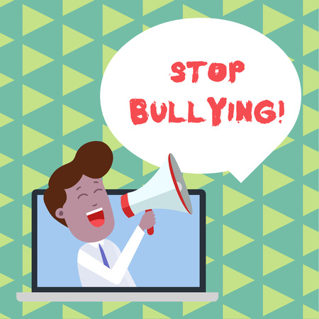 Word writing text Stop Bullying. Business photo showcasing stop the aggressive behaviour among school aged children Man Speaking Through Laptop into Loudhailer Blank Speech Bubble Announce