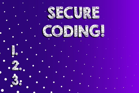 Text sign showing Secure Coding. Business photo showcasing Applied to avoid the introduction of security vulnerabilities Lilac Violet Background White Polka Dots Scattered in Linear Perspective