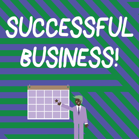 Handwriting text writing Successful Business. Conceptual photo Achievement of goals within a specified period of time Businessman Smiling and Pointing to Colorful Calendar with Star Hang on Wall Фото со стока