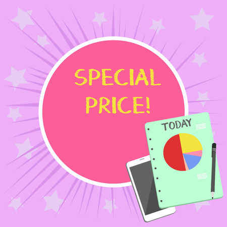 Conceptual hand writing showing Special Price. Concept meaning selling at a price that is lower than usual Discounted Layout Smartphone Off Ballpoint Notepad Business Pie Chart