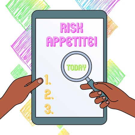 Writing note showing Risk Appetite. Business concept for the level of risk an organization is prepared to accept Hands Holding Magnifying Glass Against Switched Off Touch Screen Tablet