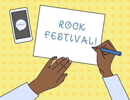 Writing note showing Rock Festival. Business concept for Largescale rock music concert featuring heavy metals genre Top View Man Writing Paper Pen Smartphone Message Icon