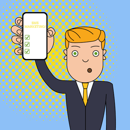 Writing note showing Sms Marketing. Business concept for Effective technology for inviting clients and retain customers Man Holding Vertical Smartphone Device Screen for Attention