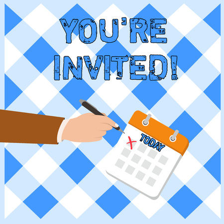 Writing note showing You Re Invited. Business concept for You are happily encouraged to attend and event or a party Formal Suit Crosses Off One Day Calendar Red Ink Ballpoint Pen Stock Photo