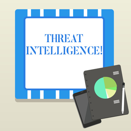 Word writing text Threat Intelligence. Business photo showcasing analyzed and refined information about potential attacks Layout Smartphone Off Ballpoint Pen RingBound Notepad Business Pie Chart Stock Photo - 123807636