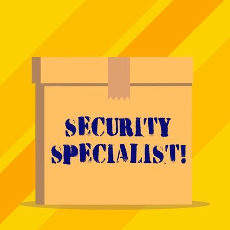 Writing note showing Security Specialist. Business concept for specializes in the security of showing assets or systems Stock Photo