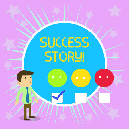 Conceptual hand writing showing Success Story. Concept meaning someone or something that has attain a goal Successful demonstrating Male Questionnaire Survey Choice Checklist Satisfaction Green Tick