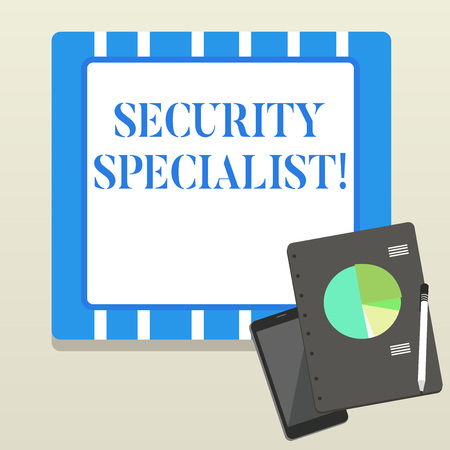 Word writing text Security Specialist. Business photo showcasing specializes in the security of showing assets or systems Layout Smartphone Off Ballpoint Pen RingBound Notepad Business Pie Chart Stock Photo