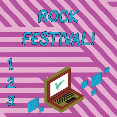 Handwriting text writing Rock Festival. Conceptual photo Largescale rock music concert featuring heavy metals genre Color Mail Envelopes around Laptop with Check Mark icon on Monitor Screen 版權商用圖片