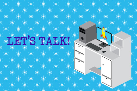 Conceptual hand writing showing Let S Talk. Concept meaning they are suggesting beginning conversation on specific topic Desktop station drawers personal computer launching rocket Stock fotó