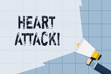 Conceptual hand writing showing Heart Attack. Concept meaning sudden occurrence of coronary thrombosis resulting in death Hand Holding Megaphone with Wide Beam Extending the Volume Stock Photo