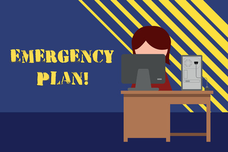Conceptual hand writing showing Emergency Plan. Concept meaning actions developed to mitigate damage of potential events Young female working in office computer office monitor photo Stock Photo