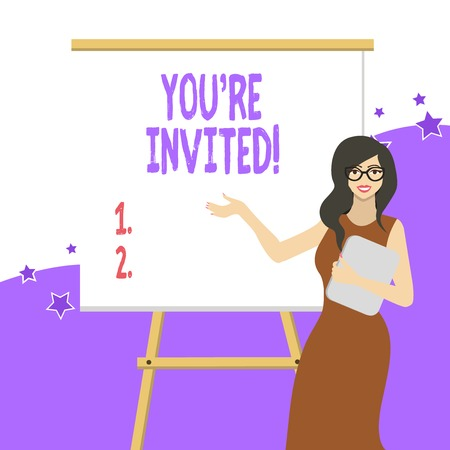 Handwriting text writing You Re Invited. Conceptual photo make a polite friendly request to someone go somewhere White Female in Glasses Standing by Blank Whiteboard on Stand Presentation Stock Photo