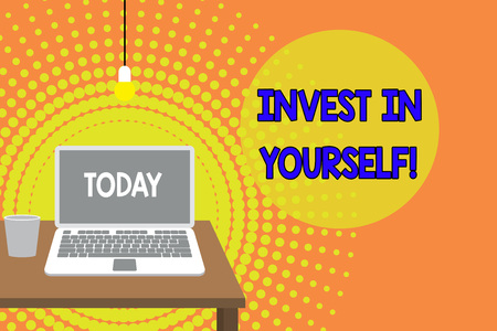 Handwriting text writing Invest In Yourself. Conceptual photo learn new things or materials thus making your lot better Front view open laptop lying on wooden desktop light bulb falling glass Stock Photo