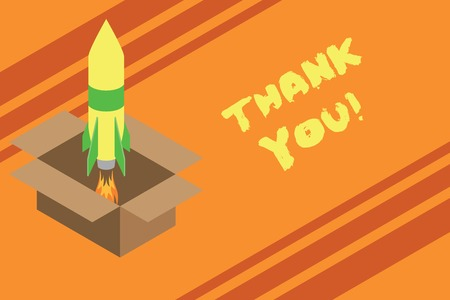 Word writing text Thank You. Business photo showcasing polite expression used when acknowledging gift service compliment Fire launching rocket carton box. Starting up project. Fuel inspiration