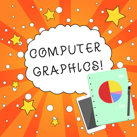 Writing note showing Computer Graphics. Business concept for visual representations of data displayed on a monitor Layout Smartphone Off Ballpoint Notepad Business Pie Chart