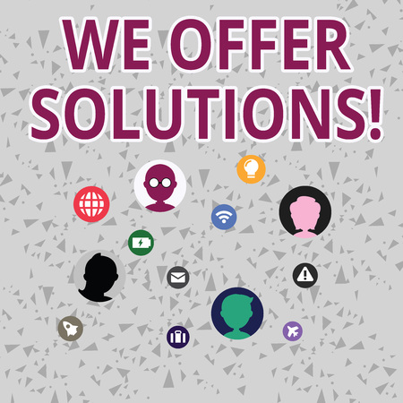 Word writing text We Offer Solutions. Business photo showcasing way to solve problem or deal with difficult situation Networking Technical Icons with Chat Heads Scattered on Screen for Link Up Foto de archivo