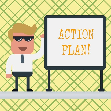 Conceptual hand writing showing Action Plan. Concept meaning proposed strategy or course of actions for certain time Office Worker Sunglass Blank Whiteboard Meeting Presentation