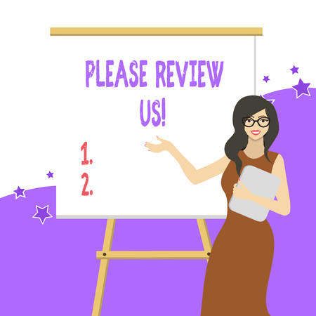 Handwriting text writing Please Review Us. Conceptual photo situation or system is formal examination by showing authority White Female in Glasses Standing by Blank Whiteboard on Stand Presentation