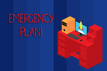 Conceptual hand writing showing Emergency Plan. Concept meaning actions developed to mitigate damage of potential events Desktop station drawers personal computer launching rocket