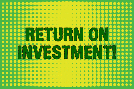 Conceptual hand writing showing Return On Investment. Concept meaning perforanalysisce measure used evaluate efficiency of investment Vanishing dots middle background design Gradient Pattern