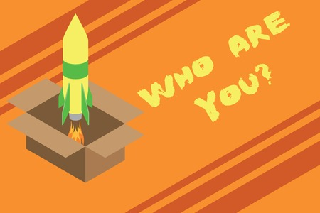 Word writing text Who Are You Question. Business photo showcasing asking about someone identity or demonstratingal information Fire launching rocket carton box. Starting up project. Fuel inspiration Stock Photo