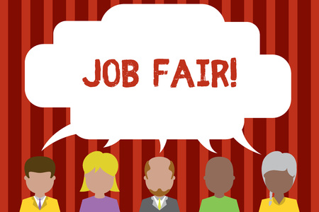 Conceptual hand writing showing Job Fair. Concept meaning event in which employers recruiters give information to employees Five different persons sharing speech bubble People talking