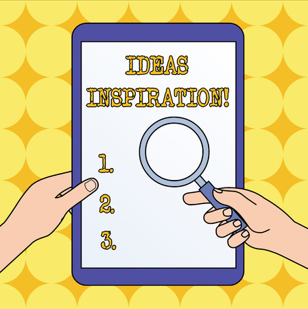 Text sign showing Ideas Inspiration. Business photo text feeling of enthusiasm you get from someone or something Hands Holding Magnifying Glass Against Switched Off Touch Screen Tablet