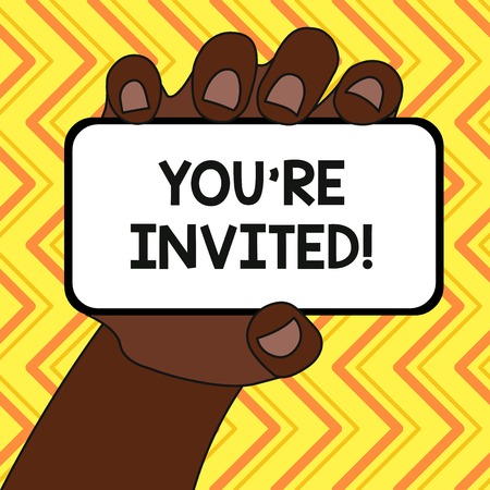 Text sign showing You Re Invited. Business photo text make a polite friendly request to someone go somewhere Closeup of Smartphone Device Held in Hand with Blank Screen and Text Space