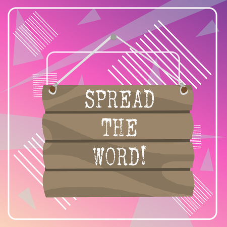 Word writing text Spread The Word. Business photo showcasing share the information or news using social media Hook Up Blank Sign Plate. Empty Wooden Signboard with Lope for Hang Banco de Imagens