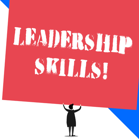 Conceptual hand writing showing Leadership Skills. Concept meaning Skills and qualities that leaders possess Taking a lead Standing short hair woman dress hands up holding rectangle