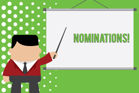 Word writing text Nominations. Business photo showcasing action of nominating or state being nominated for prize Businessman standing in front projector screen pointing project idea