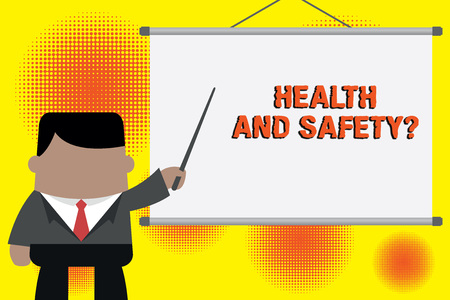 Handwriting text writing Health And Safety Question. Conceptual photo regulations and procedures to prevent accident or injury Businessman standing in front projector screen pointing project idea