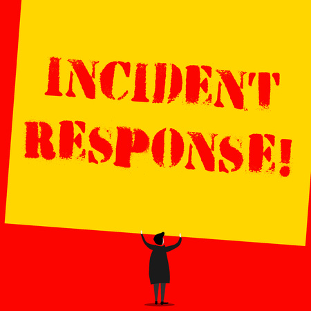 Text sign showing Incident Response. Business photo text addressing and analysisaging the aftermath of a security breach Man stands in back view under huge empty blank big tilted rectangle board