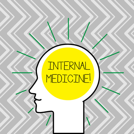 Text sign showing Internal Medicine. Business photo text dedicated to the diagnosis and medical treatment of adults Outline Silhouette Human Head Surrounded by Light Rays Blank Text Space