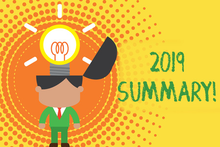Writing note showing 2019 Summary. Business concept for summarizing past year events main actions or good shows Standing successful man suit necktie surging innovative solutions