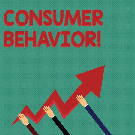 Conceptual hand writing showing Consumer Behavior. Concept meaning study of how individual customers interacts with the brand Hands Holding Zigzag Lightning Arrow Pointing and Going Up