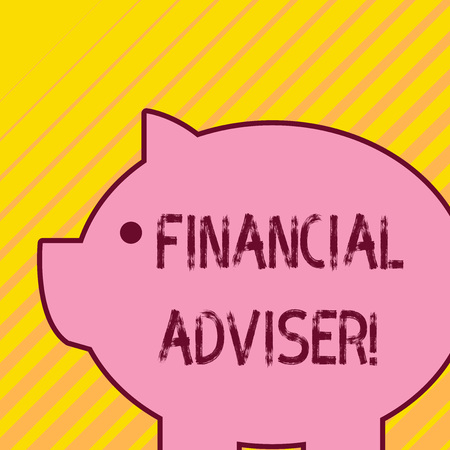 Writing note showing Financial Adviser. Business concept for demonstrating who is employed to provide financial services Fat huge pink pig plump like piggy bank with sharp ear and small eye
