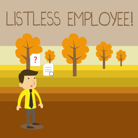 Text sign showing Listless Employee. Business photo showcasing an employee who having no energy and enthusiasm to work Young Male Businessman Office Worker Standing Searching Problem Solution Stok Fotoğraf