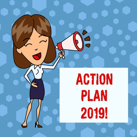 Handwriting text Action Plan 2019. Conceptual photo proposed strategy or course of actions for current year Young Woman Speaking into Blowhorn Volume Icon Colored Backgdrop Text Box