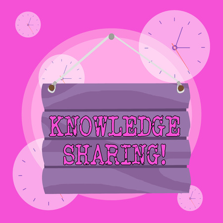 Conceptual hand writing showing Knowledge Sharing. Concept meaning deliberate exchange of information that helps with agility Hook Up Blank Sign Plate Wooden Signboard with Lope for Hang