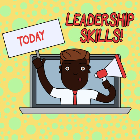 Writing note showing Leadership Skills. Business concept for Skills and qualities that leaders possess Taking a lead Man Speaking Through Laptop into Megaphone Plate with Handle