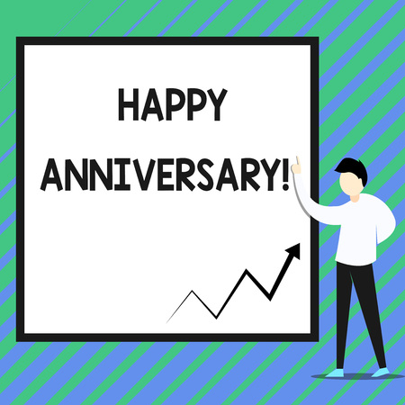 Conceptual hand writing showing Happy Anniversary. Concept meaning The annually recurring date of a past event celebration Zigzag arrow line diagram chart present in board by lecturer
