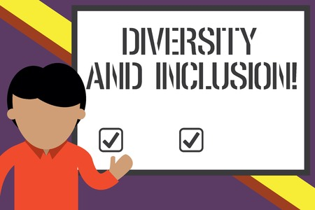 Writing note showing Diversity And Inclusion. Business concept for range huanalysis difference includes race ethnicity gender Young man standing in front whiteboard pointing to project. photo Art