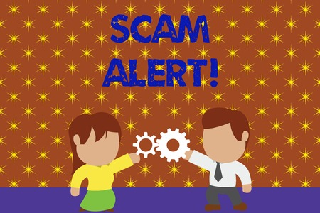 Word writing text Scam Alert. Business photo showcasing fraudulently obtain money from victim by persuading him Standing young couple sharing gear. Man tie woman skirt commerce relation Stock Photo - 124018240