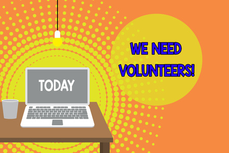 Handwriting text writing We Need Volunteers. Conceptual photo someone who does work without being paid for it Front view open laptop lying on wooden desktop light bulb falling glass Banco de Imagens